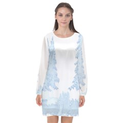 Winter Snow Trees Forest Long Sleeve Chiffon Shift Dress
