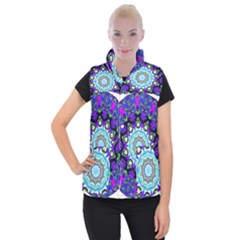 Graphic Isolated Mandela Colorful Women s Button Up Puffer Vest by Nexatart