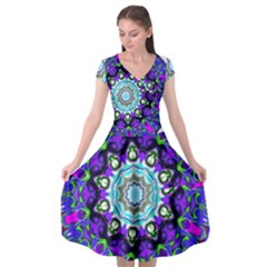 Graphic Isolated Mandela Colorful Cap Sleeve Wrap Front Dress
