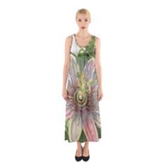 Passion Flower Flower Plant Blossom Sleeveless Maxi Dress by Nexatart
