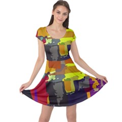 Abstract Vibrant Colour Cap Sleeve Dresses