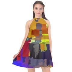 Abstract Vibrant Colour Halter Neckline Chiffon Dress  by Nexatart