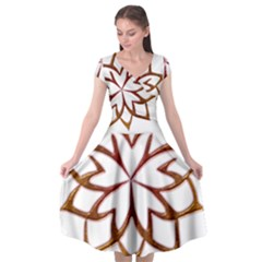 Abstract Shape Outline Floral Gold Cap Sleeve Wrap Front Dress by Nexatart