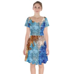 Painted Texture                Short Sleeve Bardot Dress by LalyLauraFLM