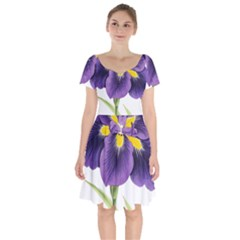 Lily Flower Plant Blossom Bloom Short Sleeve Bardot Dress