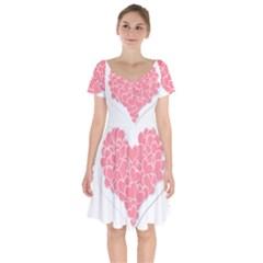 Heart Stripes Symbol Striped Short Sleeve Bardot Dress by Nexatart