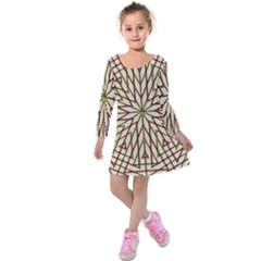 Kaleidoscope Online Triangle Kids  Long Sleeve Velvet Dress by Nexatart