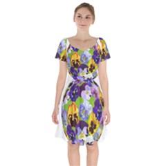 Spring Pansy Blossom Bloom Plant Short Sleeve Bardot Dress