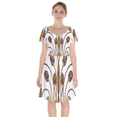 Scroll Gold Floral Design Short Sleeve Bardot Dress by Nexatart