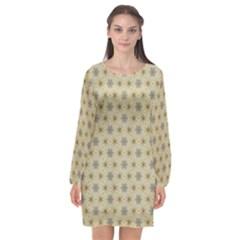 Star Basket Pattern Basket Pattern Long Sleeve Chiffon Shift Dress  by Nexatart