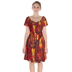 Effect Pattern Brush Red Orange Short Sleeve Bardot Dress by Nexatart
