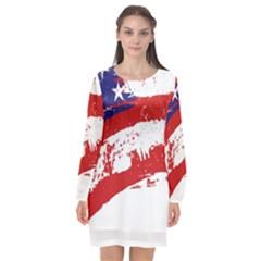 Red White Blue Star Flag Long Sleeve Chiffon Shift Dress