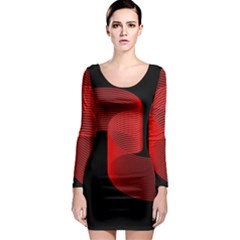 Tape Strip Red Black Amoled Wave Waves Chevron Long Sleeve Bodycon Dress by Mariart