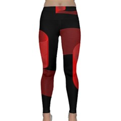 Tape Strip Red Black Amoled Wave Waves Chevron Classic Yoga Leggings by Mariart