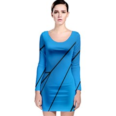 Technical Line Blue Black Long Sleeve Bodycon Dress by Mariart