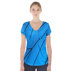 Technical Line Blue Black Short Sleeve Front Detail Top by Mariart