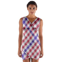 Webbing Wicker Art Red Bluw White Wrap Front Bodycon Dress by Mariart