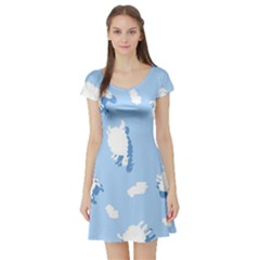 Vector Sheep Clouds Background Short Sleeve Skater Dress