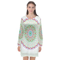 Flower Abstract Floral Long Sleeve Chiffon Shift Dress