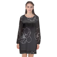 Rose Wild Seamless Pattern Flower Long Sleeve Chiffon Shift Dress
