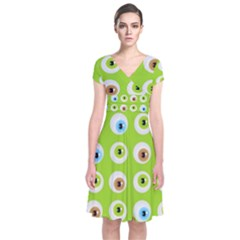 Eyes Background Structure Endless Short Sleeve Front Wrap Dress