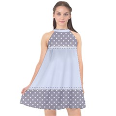 Blue Modern Halter Neckline Chiffon Dress