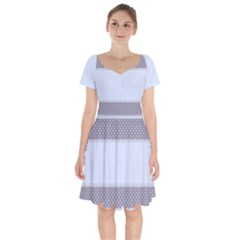 Blue Modern Short Sleeve Bardot Dress