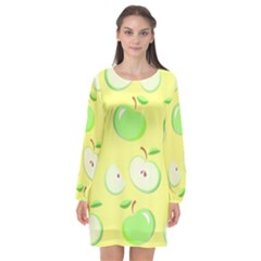 Apples Apple Pattern Vector Green Long Sleeve Chiffon Shift Dress  by Nexatart