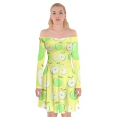 Apples Apple Pattern Vector Green Off Shoulder Skater Dress by Nexatart