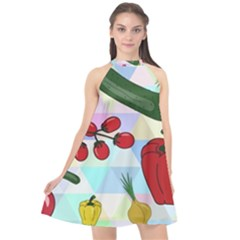 Vegetables Cucumber Tomato Halter Neckline Chiffon Dress  by Nexatart