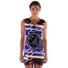 Abstract Sphere Room 3d Design Wrap Front Bodycon Dress