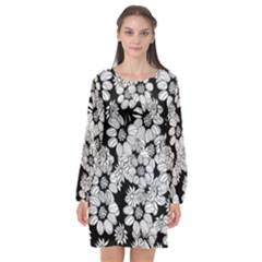 Mandala Calming Coloring Page Long Sleeve Chiffon Shift Dress