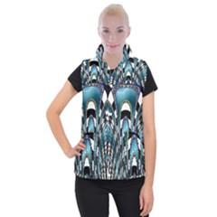 Abstract Art Design Texture Women s Button Up Puffer Vest