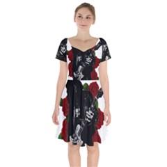 Slash Short Sleeve Bardot Dress by Valentinaart