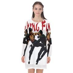 Kung Fu  Long Sleeve Chiffon Shift Dress  by Valentinaart