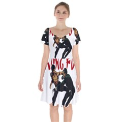 Kung Fu  Short Sleeve Bardot Dress by Valentinaart