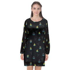 Cactus Pattern Long Sleeve Chiffon Shift Dress  by ValentinaDesign