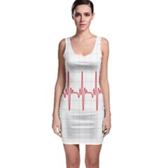 Cardiogram Vary Heart Rate Perform Line Red Plaid Wave Waves Chevron Sleeveless Bodycon Dress by Mariart