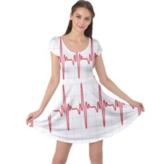 Cardiogram Vary Heart Rate Perform Line Red Plaid Wave Waves Chevron Cap Sleeve Dresses