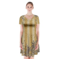 Wall Paper Old Line Vertical Short Sleeve V Neck Flare Dress by Mariart