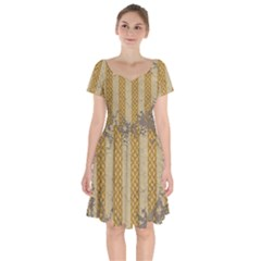 Wall Paper Old Line Vertical Short Sleeve Bardot Dress by Mariart