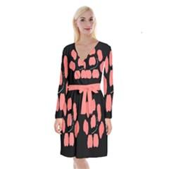 Craft Pink Black Polka Spot Long Sleeve Velvet Front Wrap Dress by Mariart