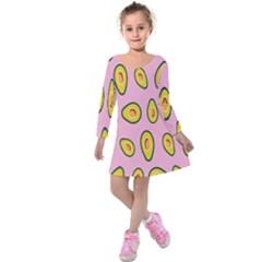 Fruit Avocado Green Pink Yellow Kids  Long Sleeve Velvet Dress by Mariart
