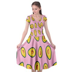 Fruit Avocado Green Pink Yellow Cap Sleeve Wrap Front Dress