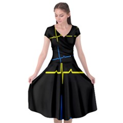 Heart Monitor Screens Pulse Trace Motion Black Blue Yellow Waves Cap Sleeve Wrap Front Dress