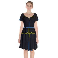 Heart Monitor Screens Pulse Trace Motion Black Blue Yellow Waves Short Sleeve Bardot Dress by Mariart