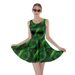 Green Eye Line Triangle Poljka Skater Dress by Mariart