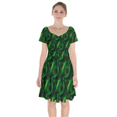 Green Eye Line Triangle Poljka Short Sleeve Bardot Dress by Mariart