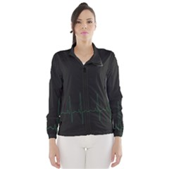 Heart Rate Line Green Black Wave Chevron Waves Wind Breaker (women) by Mariart