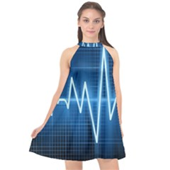Heart Monitoring Rate Line Waves Wave Chevron Blue Halter Neckline Chiffon Dress